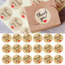 """60Pcs Love Heart """"Thank You"""" Craft Packaging Seals Kraft Sealing Sticker Labels"""