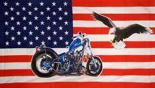 Fahne Flagge USA Harley mit Adler Motorrad Bike 90 x 150 cm