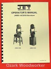 "JET/Asian 14"" Band Saw JWBS-14OS JWBS-14CS Operator's & Parts Manual 0890"