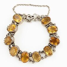 Antique Vintage Estate Georgian Sterling Silver Riviera Madeira Citrine Bracelet
