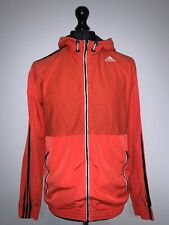 Adidas Climalite Mens Retro Orange Training Windbreaker Hooded Jacket M VGC