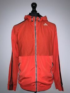 Adidas Climalite Orange Retro Training Windbreaker Hooded Jacket Men's M VGC