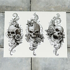 3 x Skull And Smoke Tattoo Vinyl Sticker Decal Window Car Van MacBook - 5425