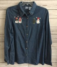 Women's Christmas Holiday Snowman Button Up Blue Shirt Size Large J4