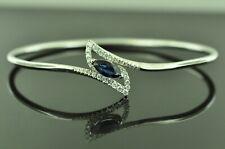 14k Solid White gold Ladies Natural Diamond & Sapphire Bangle bracelet