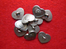 Metal button,10 Pcs,Costumes/Country house,Metal antiqued silver Heart/?s.Bilder