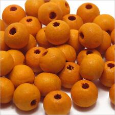 Lot de 100 Perles rondes en Bois 8mm Orange
