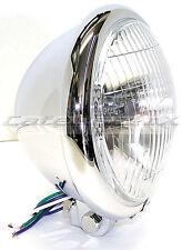 "Motorcycle Bates Style 5-3/4"" Chrome Bottom Mount Head Light Chopper Bobber Cafe"
