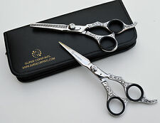 """6"""" Professional Hairdressing Scissors Barber Haircutting Shears Set Silver"""