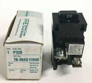 SIEMENS ITE P120 78-3643-11940 20AMP 1-POLE 120/240V PUSHMATIC CIRCUIT BREAKER