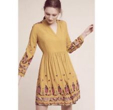 Anthropologie Floreat Raella Embroidered Dress Size XS Long Sleeve Pockets *READ
