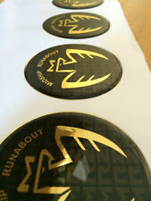 MR2 MIDSHIP RUNABOUT GOLD CENTER WHEEL HUB CAP DOMED STICKER, MIDSHIP RUNABOUT