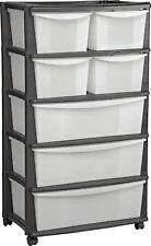 7 Drawer Storage Unit 4 Wheeled Trolley Slim Tower Organiser Chest Tool Box 131L