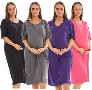 Ladies Plain Maternity Nursing Nightdress 100% Cotton Breast Buttons labor Gown