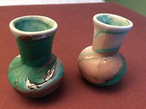 2 Vintage Garden of the Gods Cripple Creek Colorado Pottery Miniature Vases