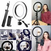 Selfie Flash Ring Light + Mobile Phone Holder +1.6M Tripod USB LED Dimmable Lamp