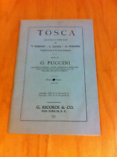 Tosca Opera Program by Sardou -Illica-1905 New York-Giacosa music by Puccini  *