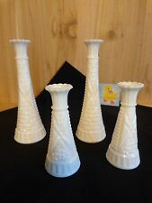 "White Milk Glass Vase Lot of 4 Stars and Bars 6"" and 9"" Stem Bud Flower Display"