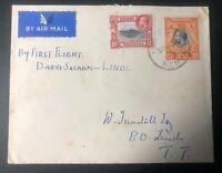 1936 Uplands Kenya British KUT First Flight Airmail Cover To Lindi Tanganyika
