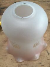 VINTAGE TRADITIONAL RUFFLED EDGE GLASS HURRICANE STYLE SHADE - LIGHT PINK