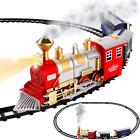 Classic Train Set for Kids w/ Smoke Realistic Sounds 3 Cars & 11 Ft Track 13 Pcs