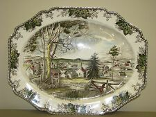 "Johnson Brothers THE FRIENDLY VILLAGE 20"" Large Oval Turkey Platter England"