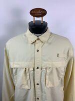 LL Bean Men's Sz L Tall Yellow Outdoor Long Sleeve Hunting Fishing Shirt Vented