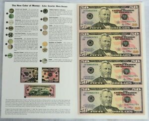 2006 US $50 UNCIRCULATED UNCUT SHEET OF 4 FEDERAL RESERVE BANKNOTES