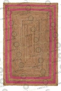 Double Border Dark Pink Jute Hand Made Rug, Decor Rug Customize in Any Size..