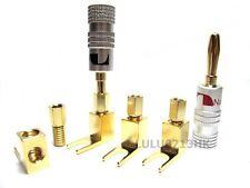 4x Banana to Spade Plug Cable Terminal Converter Adaptors for AMP DIY BTP4