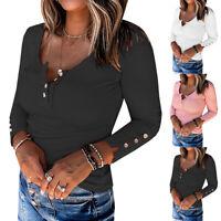 Damen Langarm Knopf Blusen Tops Herbst Freizeit T-Shirt Unifarben Slim Pullover