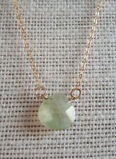 """Ladies Necklace Prehnite Gemstone Briolette 17.5"""" Gold Filled FQli Handmade"""
