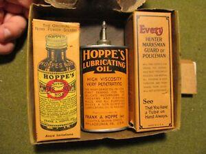 vintage HOPPE'S Gun Cleaning Kit w/ Handy Oil Oiler Tin