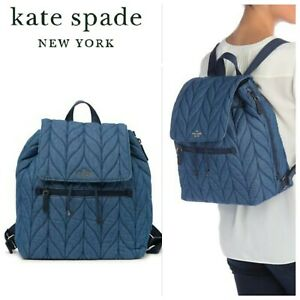 NWT Kate Spade New York Ellie Quilted Flap Backpack Fabric Denim Blue $299