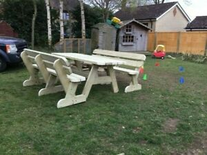 Heavy Duty 2m Garden Table and Twin Bench Set **NO Self Assembly required**