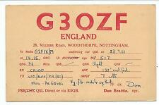 NOTTINGHAM - WOODTHORPE 1961 Transmission Confirmation Card G3OZF