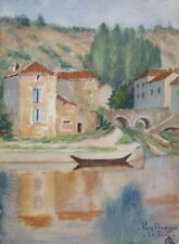 Vintage French Watercolor, Landscape, South of France, Village on the Lot River