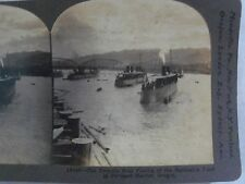 WW1 TORPEDO BOAT FLOTILLA BATTLESHIP FLEET PORTLAND HARBOR O KEYSTONE STEREOVIEW