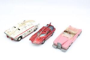 3 x Vintage DINKY Diecast Models Inc. Fab 1 w/ Figures, Spectrum Patrol Car Etc