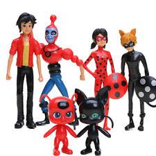 6PCS Miraculous Ladybug Tikki Noir Cat Plagg Adrien Movie Action Figure Toy Gift