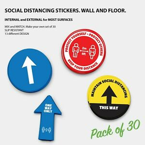 Pack of 30 200mm Social Distancing Anti-slip Floor Stickers Decals Most Surfaces
