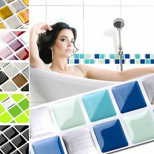 3D Mosaik Fliesenaufkleber Wandaufkleber Küche Bad Fliesenfolie Klebefolie W1431