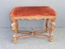Beautiful Vintage Spanish Style Ornate Carved Floral Design Orange Velvet Bench