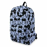 "Disney Store Mickey Mouse Expressions 18"" School Backpack Blue w/ Laptop Sleeve"