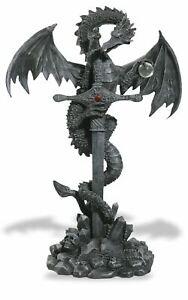 Stone Effect Dragon Guardian Wrapped Around Mystic Sword Figurine Fantasy Art