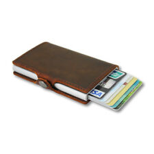 Slim Pop up Credit Card Holder Genuine Leather RFID Blocking Metal Wallet M Clip Choclate