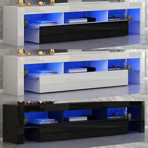 Modern 200cm TV Unit Cabinet Stand High Gloss Doors Matt body Sideboard w/ LED