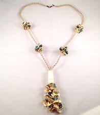 Handmade Lagenlook Long Macrame Sea Shells Multicolour Glass Beads Necklace