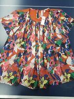 NWT Anthropologie Dolan Womens Size Large Terra Cotta Color Floral Design Blouse