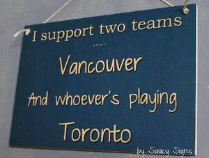 Vancouver versus Toronto Hockey Sign - Maple Leafs v The Canucks Team Rivalry